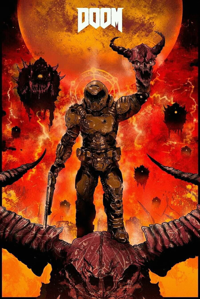 wallpaper iphone doom slayer art