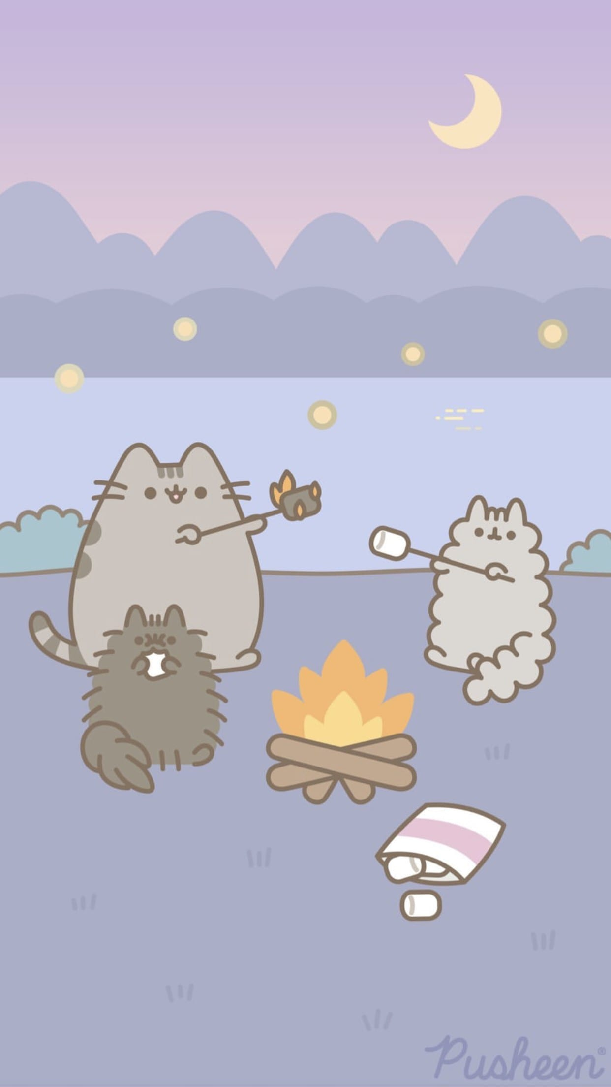 Pusheen Camping Wallpaper