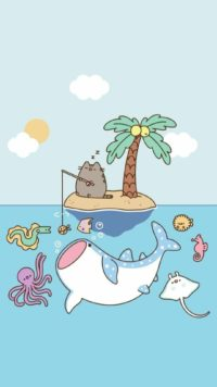 Pusheen Fishing Wallpaper