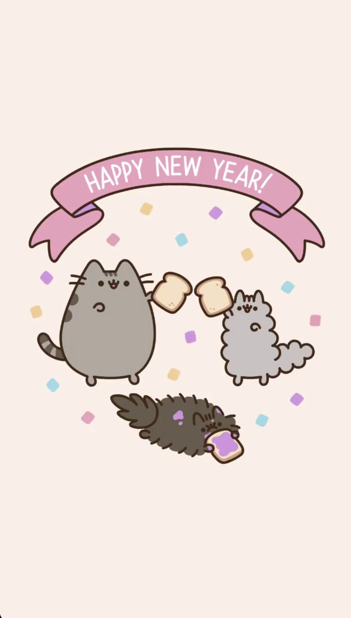 Pusheen Happy New Year Wallpaper