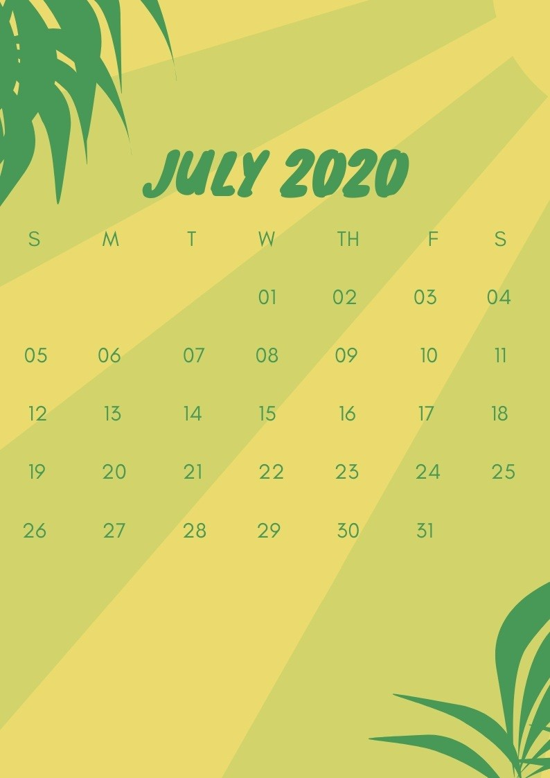 July Calendar 2020 Wallpaper