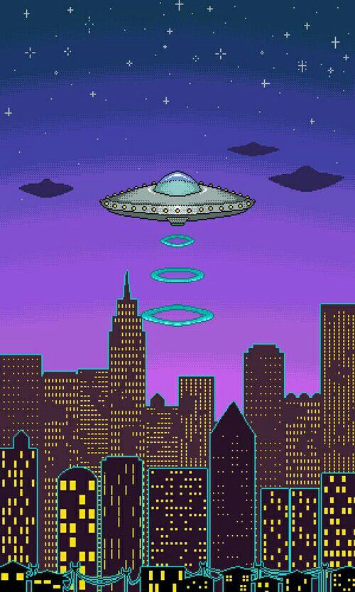 Vaporwave City Space Wallpaper