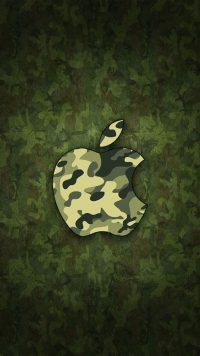 Green Camo Apple Wallpaper