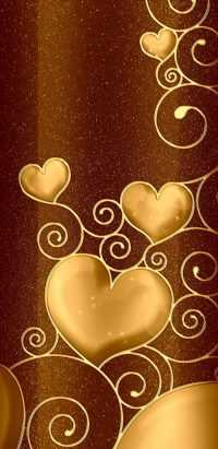 Gold Brown Heart Wallpaper 10