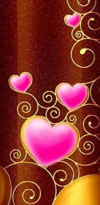 Pink Brown Heart Wallpaper 4
