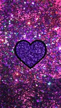 Purple Glitter Heart Wallpaper 10